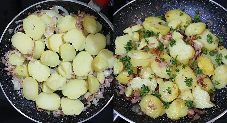 stir in potato slices, garnish with parsley