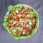 Balsamic Spinach Strawberry Feta Salad with Walnuts