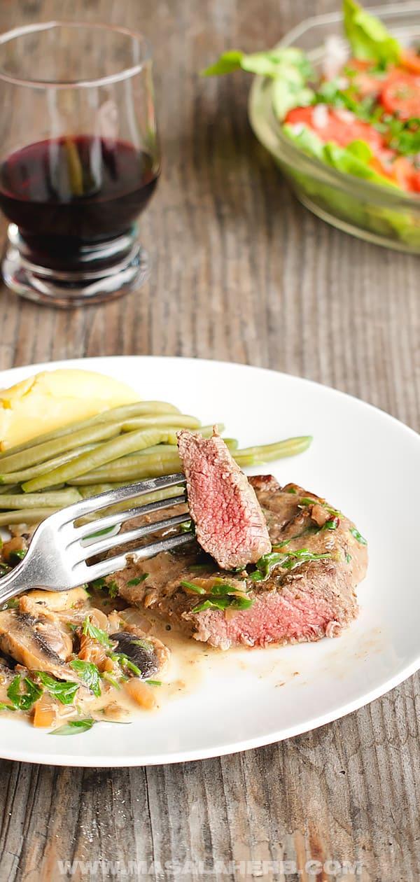 One Pan Steak and Mushroom Sauce