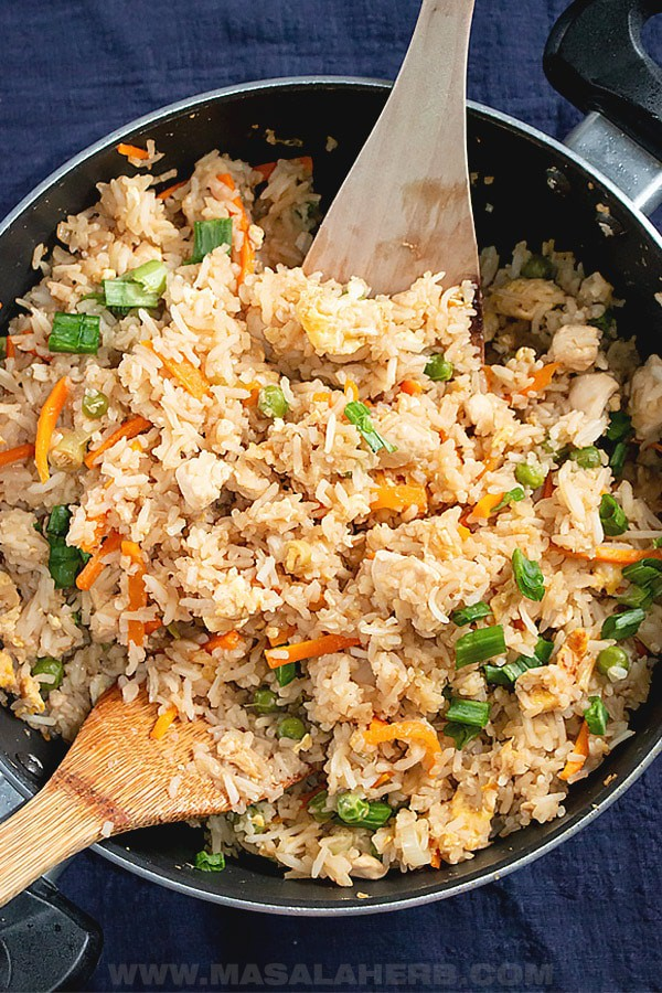Hibachi Fried Rice Recipe  in a pan