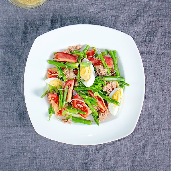 Tuna Asparagus Salad with Microgreens Recipe