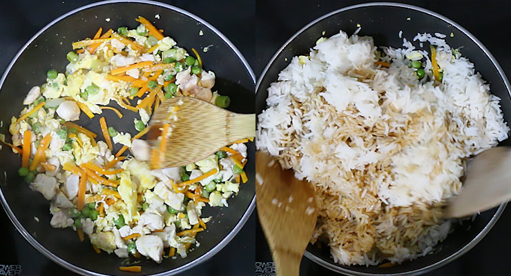 Stir in raw protein, cooked rice and pour over that stir fry sauce. Stir cook for 2-3 minutes until cooked through. Serve up.