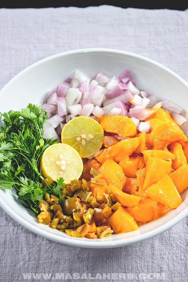 Mango Salsa ingredients in a bowl