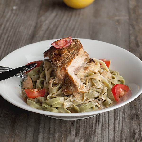 30 Minutes Pan-Fried Salmon in White Wine Sauce with Tagliatelle Pasta Recipe.