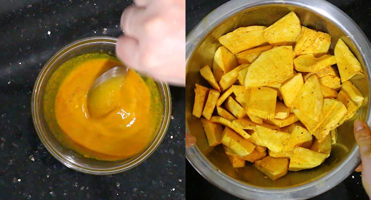 prepare marination and marinate breadfruit