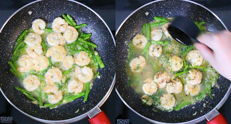 saute asparagus and shrimp, deglaze with wine