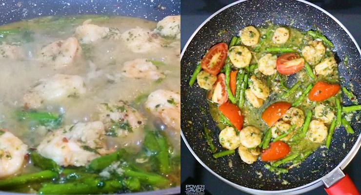 braise shrimp scampi and add tomato