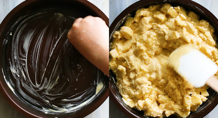 butter mold and pour apple batter in