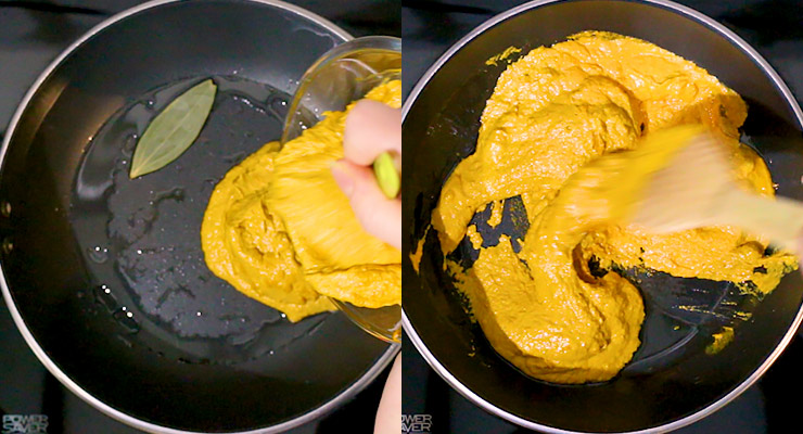 cook bay leaf in oil and add tikka masala sauce