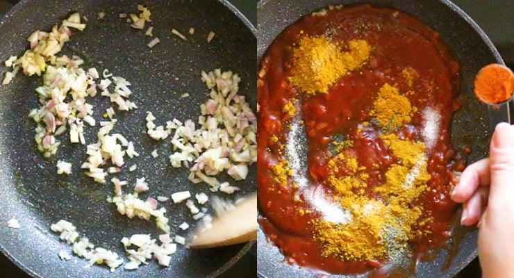 preparing currywurst sauce