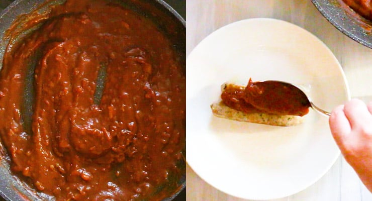 combining ingredients for currywurst sauce and serving bratwurst with currywurst sauce