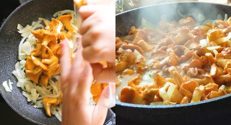 cooking mushrooms for jägerschnitzel