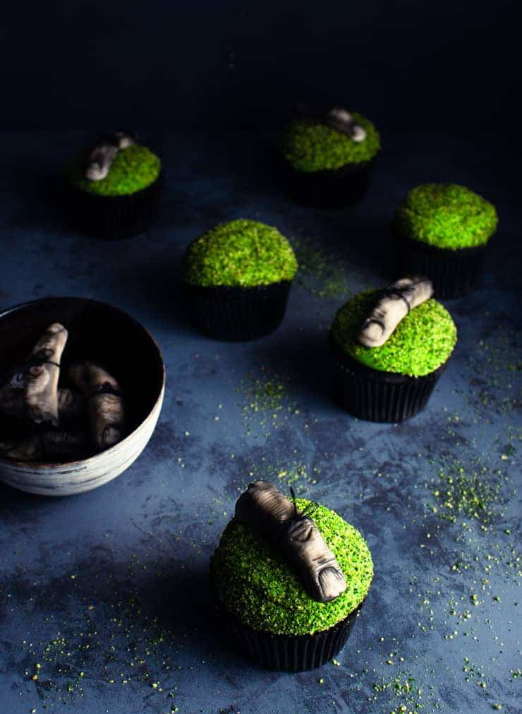 zombie finger cupcakes