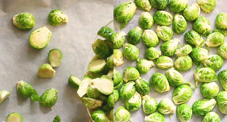 spread brussels sprouts over sheet pan