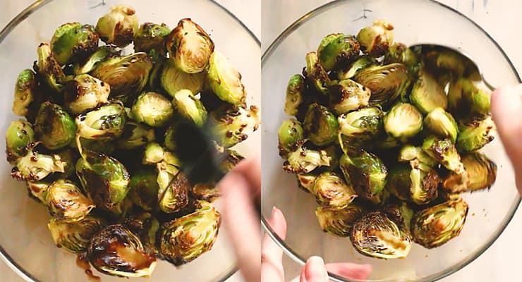 cover roasted sprouts with balsamic vinegar