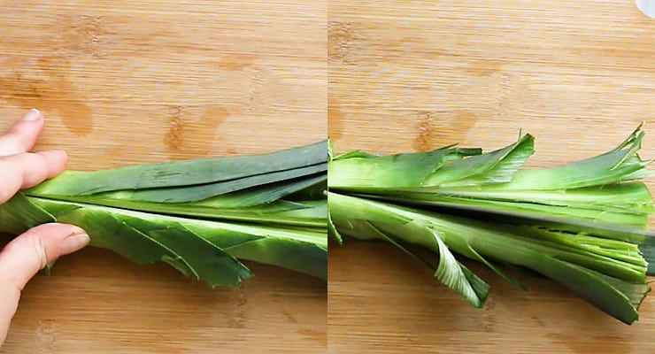 cut into leek to rinse out dirt