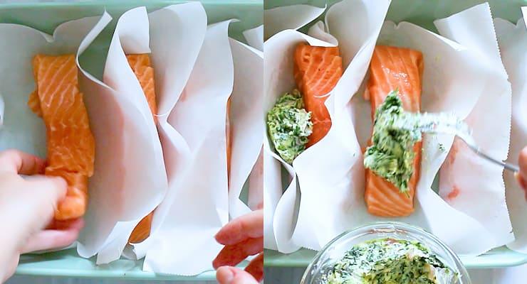 place salmon fillet in parchment
