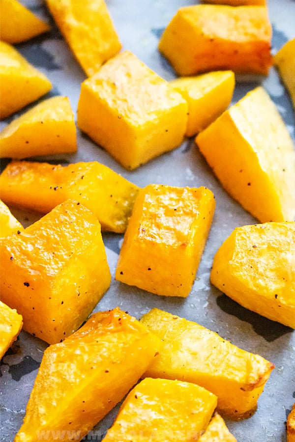 cut butternut squash cubes