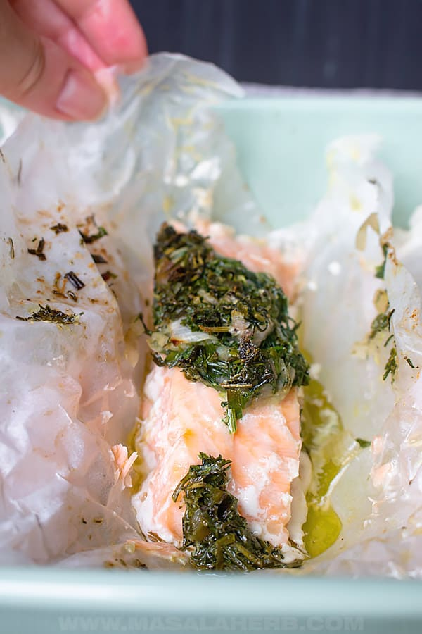 Salmon cooked in Parchment with Herbs