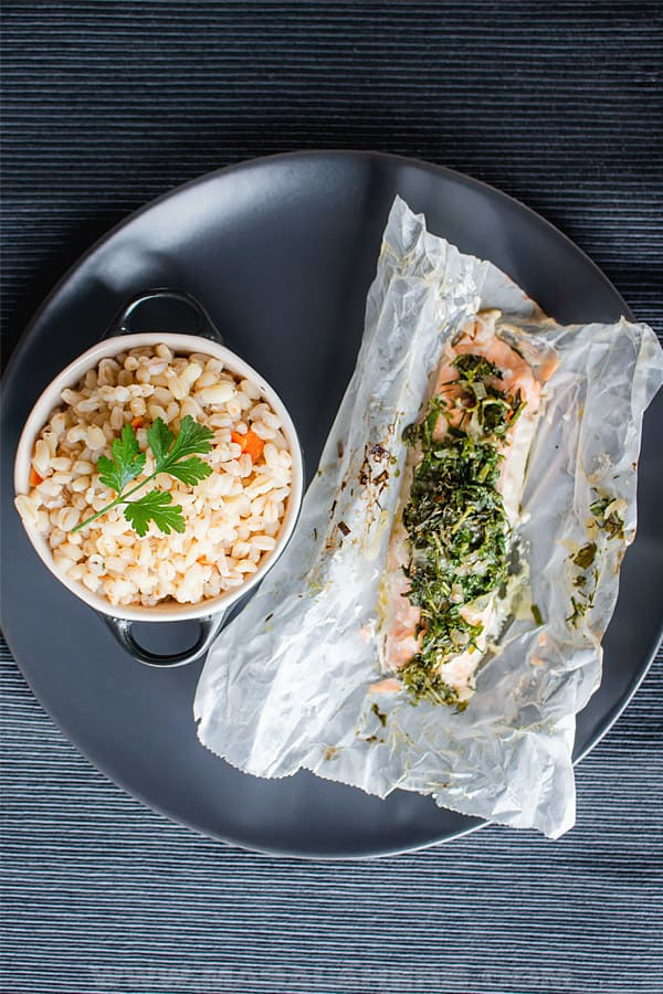 Salmon in Parchment served with ebly wheatberries
