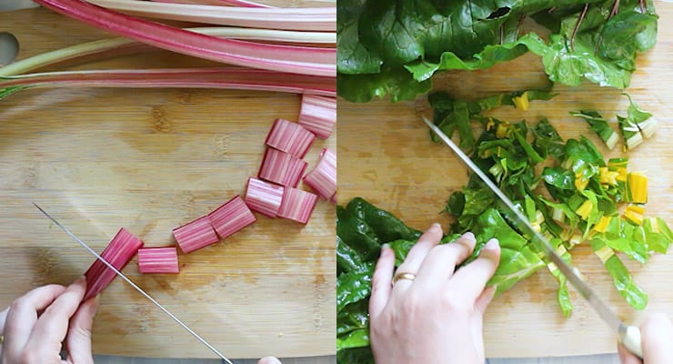 cut swiss chard stalks and leaves