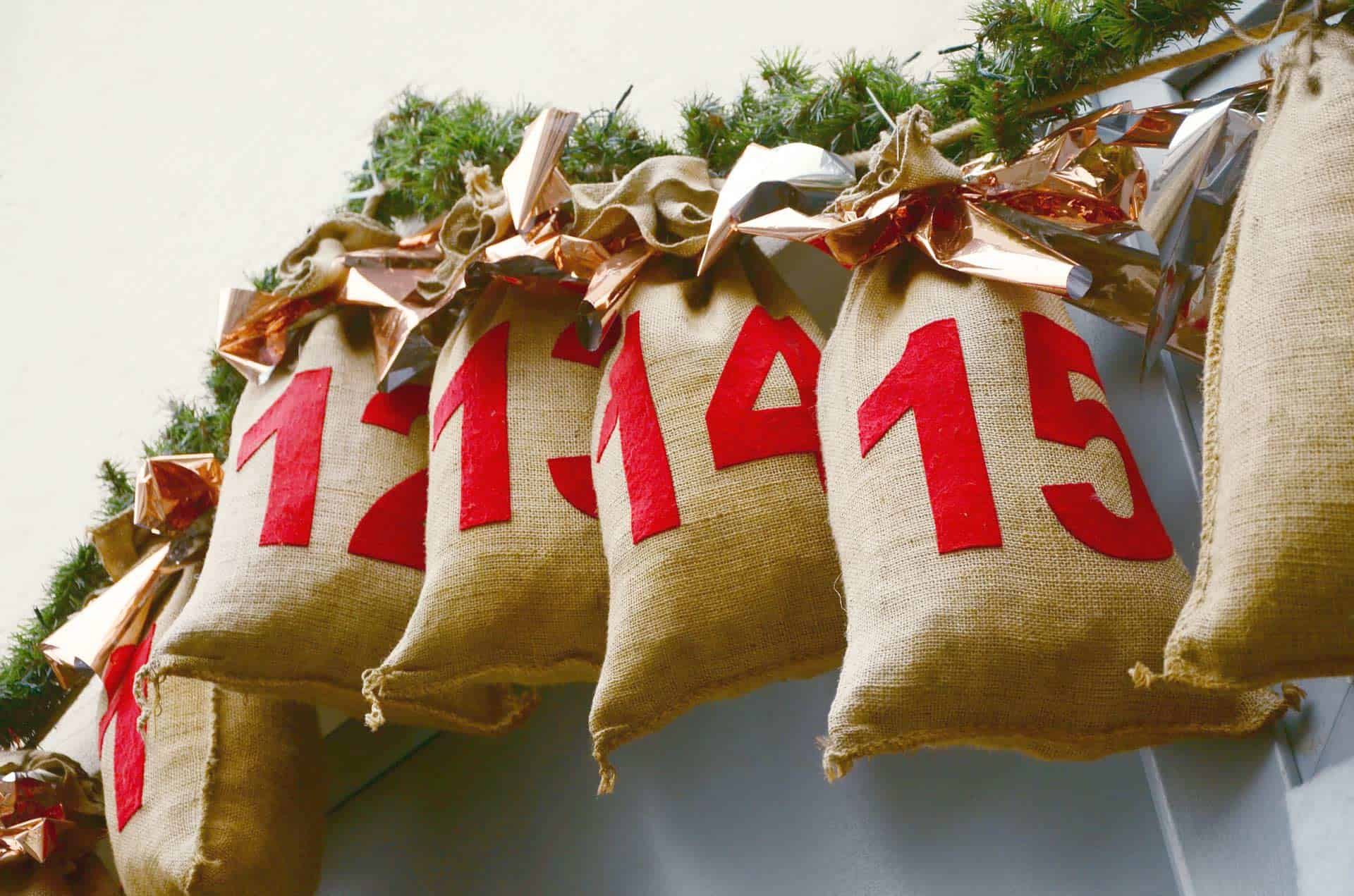 cloth bags for advent calendar with candy