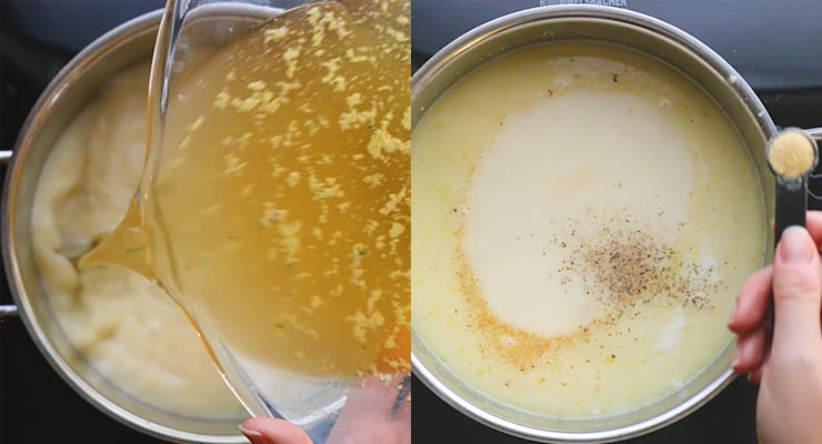 stock and seasoning for the cheesy beer soup