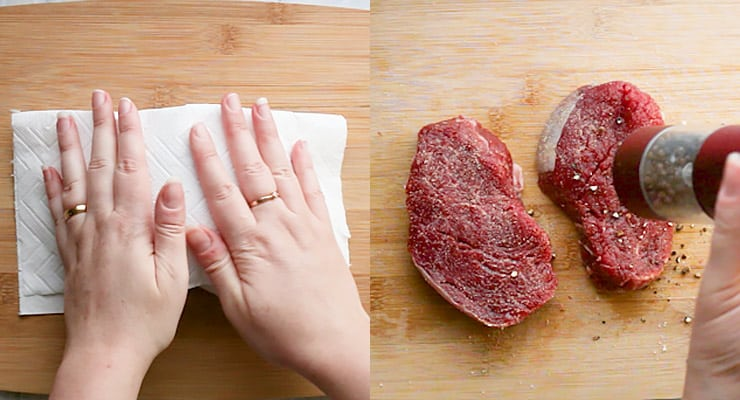 cutting filet mignon