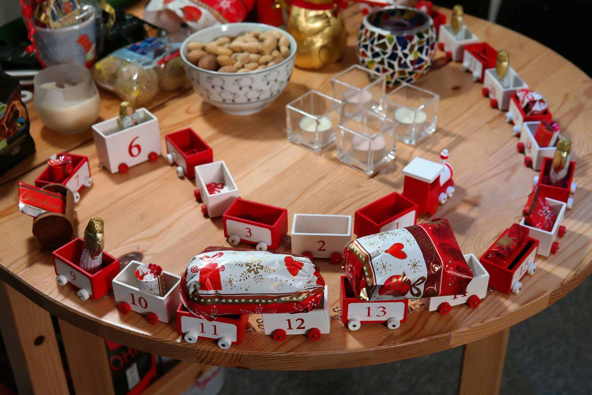 candy advent calendar with toy train