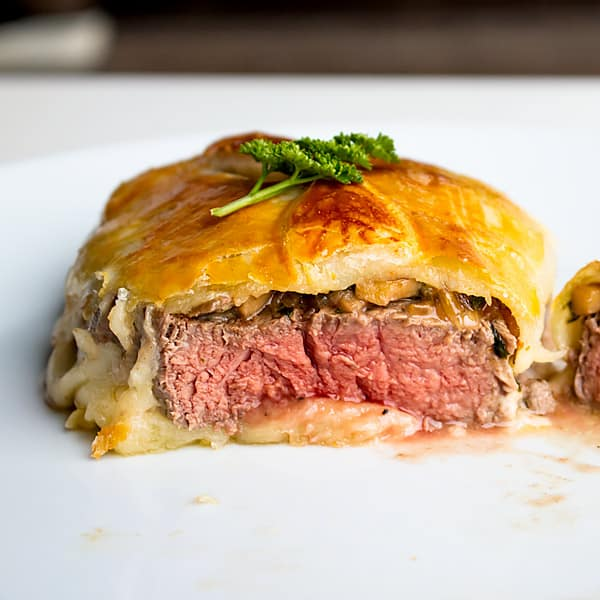 meat steak in puff pastry