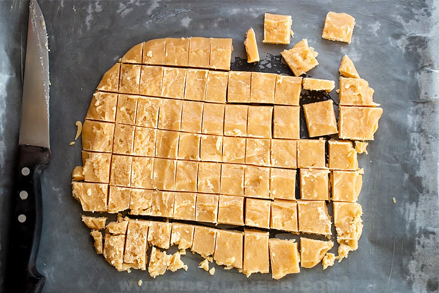 cut cooled caramel mass into squares