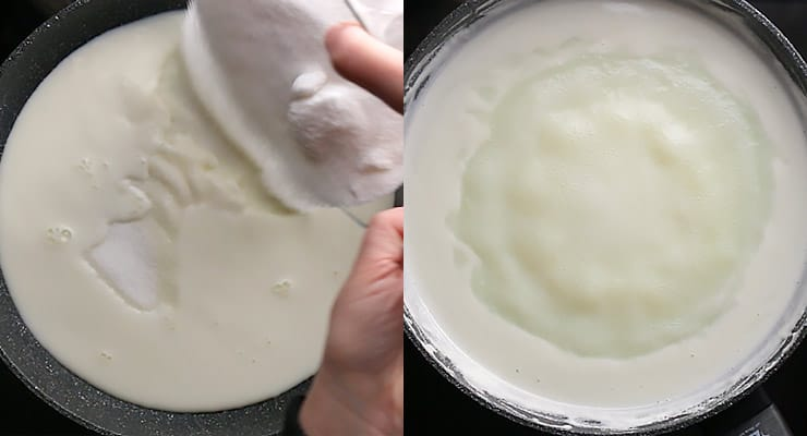 pour milk and sugar into pan and bring to a rolling boil