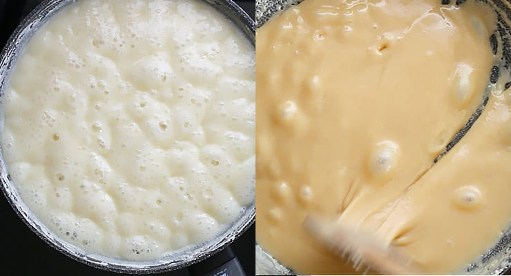 reduce and thicken caramel so that it turns brown