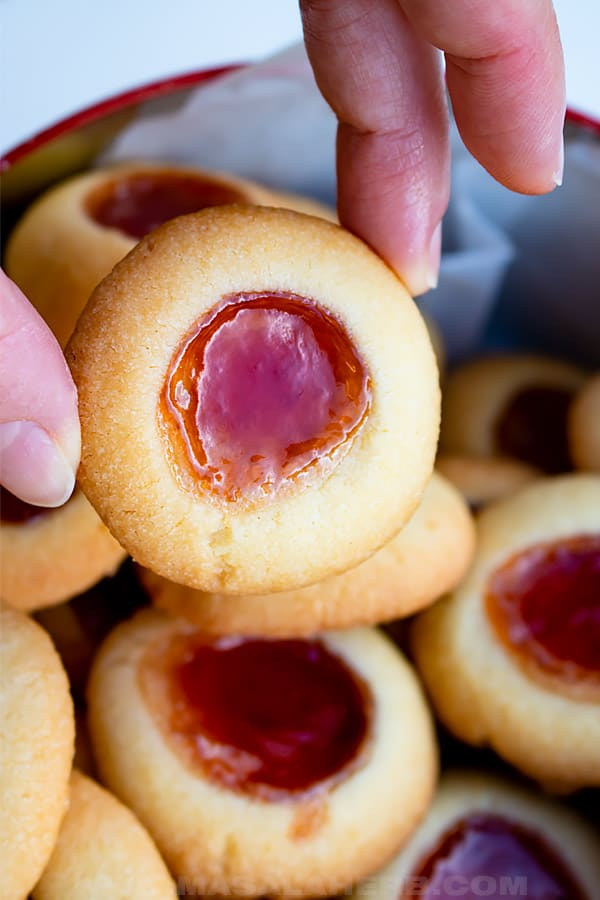 raspberry filled thumbprints