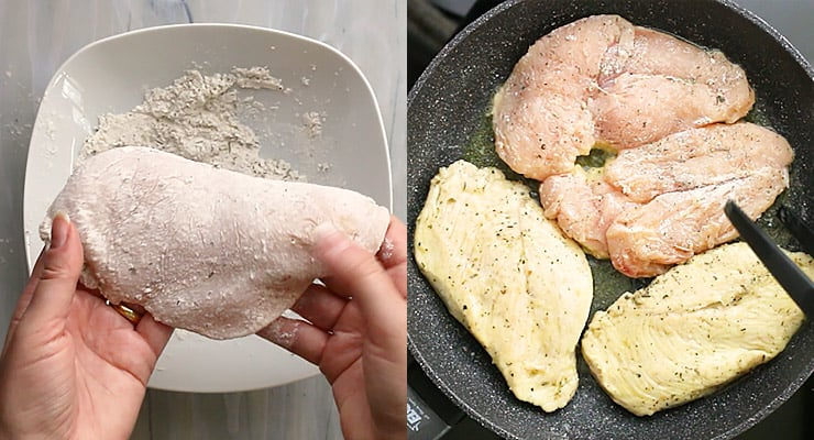 coat chicken with flour and fry