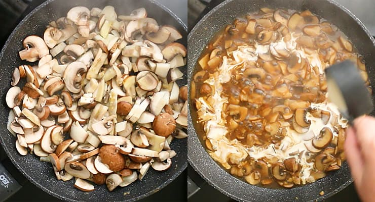 prepare sauce with mushrooms