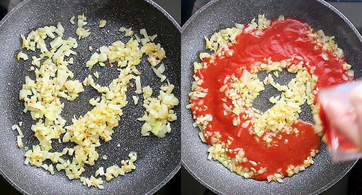 Saute onion and garlic. Pour in tomato sauce.
