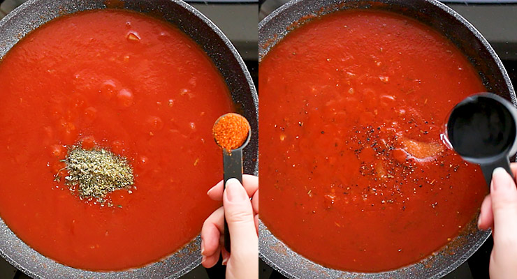 Stir in seasonings and vodka. Combine your sauce.