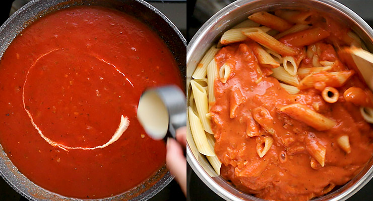 Finish the sauce with cream or half and half. Mix. Mix sauce into cooked pasta and top with parmesan.