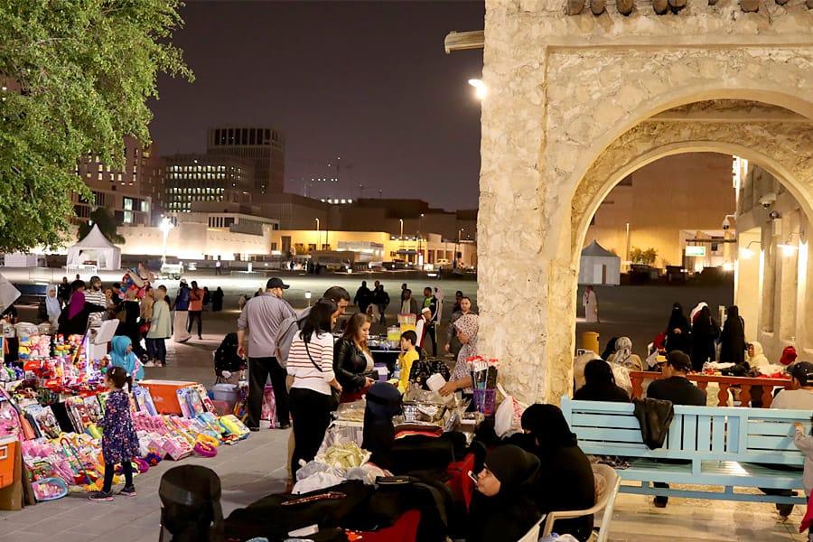 bazaar in doha night time