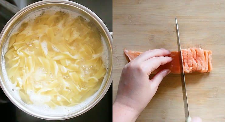 cook pasta, cut salmon