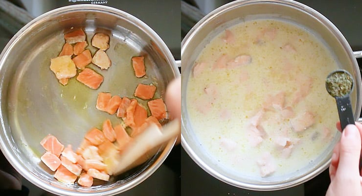 cook salmon and prepare sauce