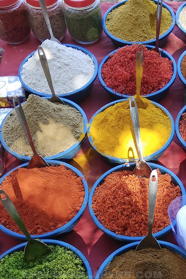turmeric spice and other spices at an Indian market