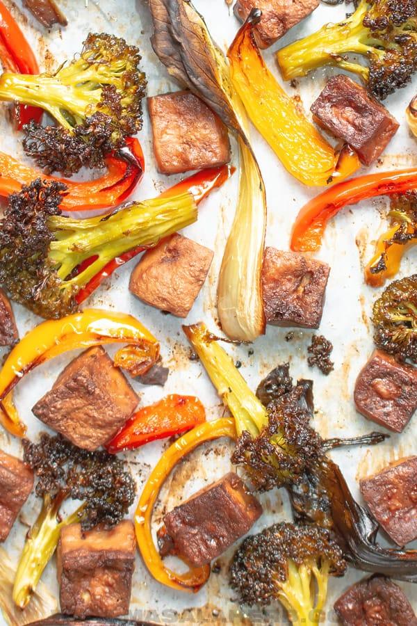 sheet pan tofu and vegetables bird view