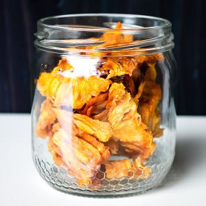dried pineapple in a jar