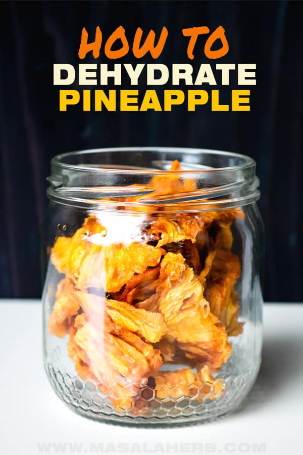 dehydrated pineapple chunks in jar