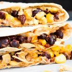 stuffed quesadilla with corn and black beans