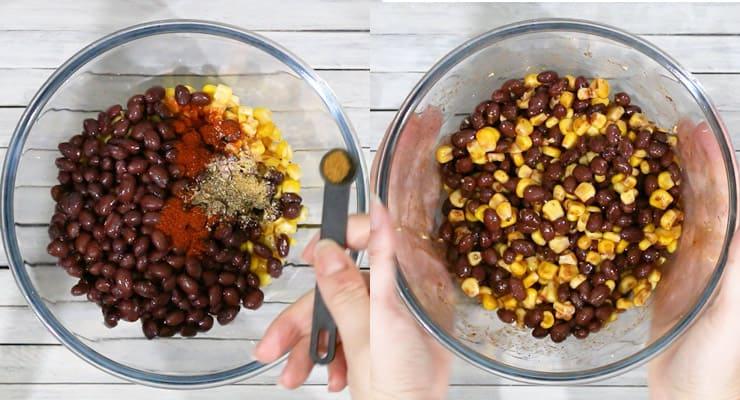 mix quesadilla filling in bowl
