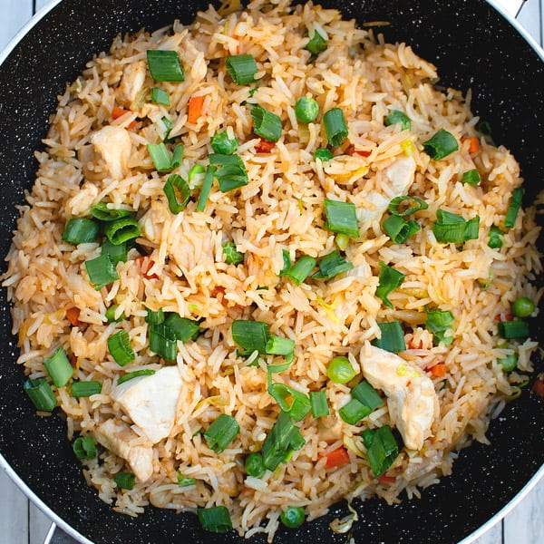 chicken fried rice in shallow pan