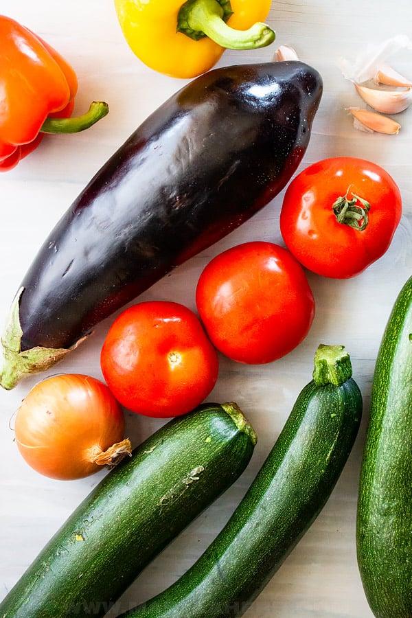 eggplant, tomatoes, onion, zucchini, garlic and bell pepper